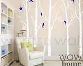 Vinyl Wall Art Decal - Skinny Birch Trees with flying birds. Silhouette Birds. Winter Trees