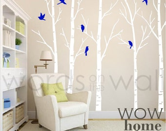 Vinyl Wall Art Decal - Skinny Birch Trees with flying birds. Silhouette Birds. Winter Trees