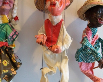 Vintage Old Man Mexican Marionette - Stringed Puppet Mexico - Folk Art - Old Toy