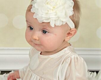 Ivory Baby Headband, Headband,  Infant Headband, Newborn Headband,  Ivory Headband, Ivory Baby Headband, Cream Baby Headband