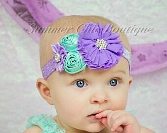 Lavender and Aqua Baby Headband, Infant Headband, Newborn Headband, Baby Headband, Toddler Headband, Pastel Headband, Purple and Aqua