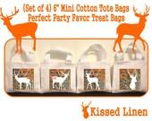 "Deer Hunter Camo Buck Treat Favor Bags Mini 6"" White Canvas Totes Children Kids Guests Deer Hunter Orange Camo Favor Gift Bags - Set of 4"