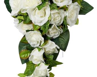Ivory Silk Rose Cascade - Silk Bridal Wedding Bouquet