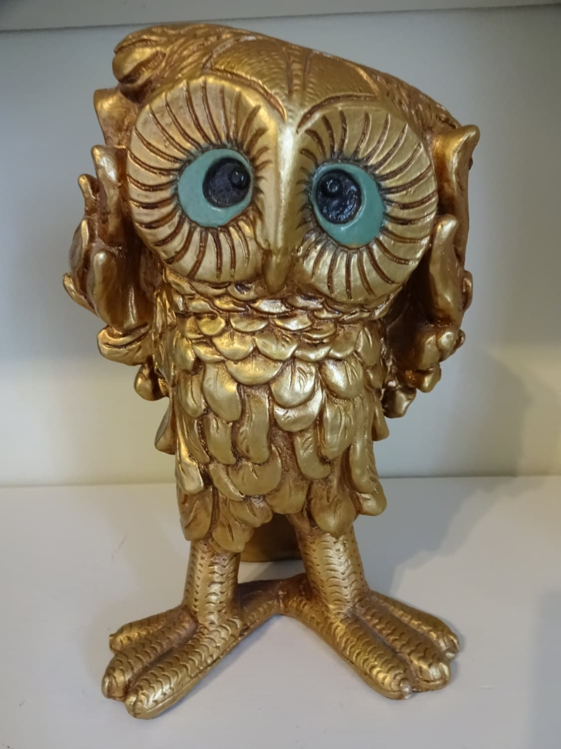 Retro owl hear no evil painted gold statue very by quirkypigeon - Hear no evil owls ceramic ...