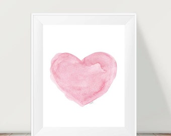 Pink Nursery Decor, 11x14 Watercolor Heart, Girls Pink Wall Decor, Baby Girl Nursery Art, Pink Nursery Art, Baby Nursery, Girls Wall Art