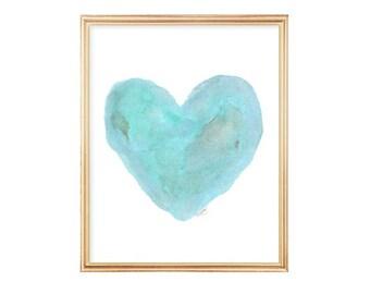 Turquoise Art, Beach Nursery Decor, Aqua Watercolor Heart Print 8x10, Coastal Decor, Beach House Art, Beach Cottage Chic, Coastal Wall Art
