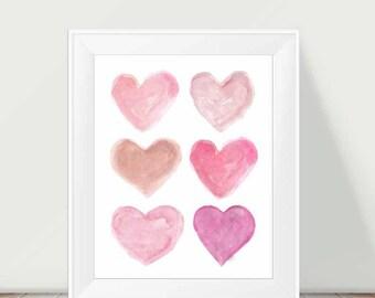 Pink Girls Decor, Pink Nursery Art, 11x14 Watercolor Heart, Pink Nursery Decor, Baby Girl Nursery Art, Pink Watercolor, Girls Room Decor