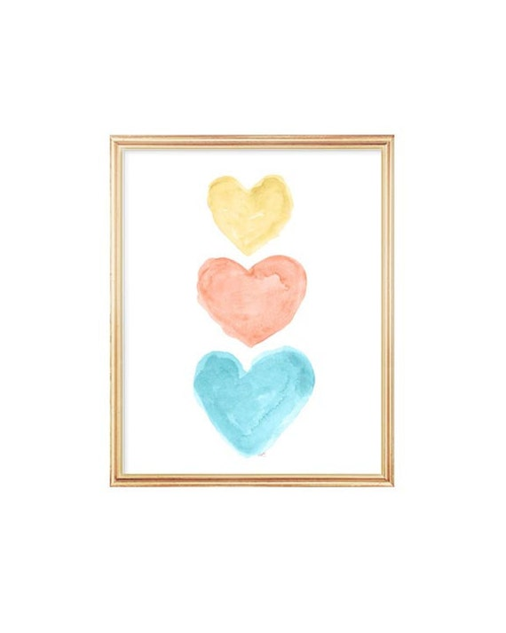 Coral, Yellow and Turquoise Heart Trio Print, 8x10