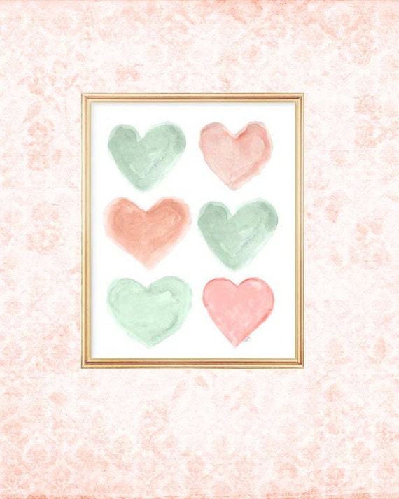 Items Similar To Coral And Mint Nursery 8x10 Watercolor