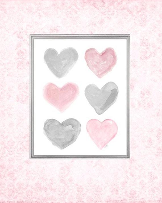 Pink and Gray Nursery Wall Art, 8x10 Watercolor Hearts Print