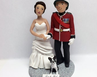 Handmade Customized Wedding Toppers, Bride and Groom Military Cake Topper,  Personalized Polymer Clay Figurines and Toppers
