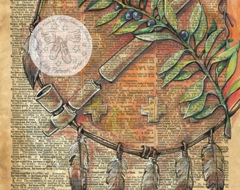 PRINT:  Home Mixed Media Drawing on Antique Dictionary