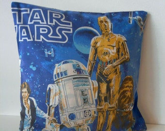 vintage 80s Star Wars R2D2 CP30 Pillow cover Upcycled Bedding