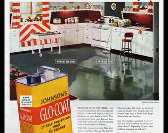 1948 Johnson's Floor Wax Original Print Ad Vintage Retro Kitchen Home Decor Glo-Coat Shine