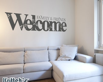 Family & Friends Welcome with Vines and Leafs Vinyl Wall Decal Quote - fits nursery, family room and more L127