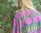 Silk Kaftan Top, Boho Caftan, Pink Coverup, Indian Silk, Paisley Festival Top, Beach Top, Loose Flowing Gypsy Blouse, Summer Jacket