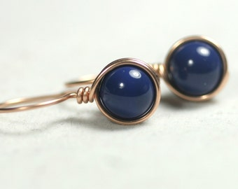 Rose Gold Blue Lapis Earrings Wire Wrapped Jewelry Handmade Rose Gold Earrings Blue Earrings Swarovski Pearl Earrings Lapis Jewelry