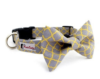 Gray and Yellow Dog Collar (Grey and Yellow Dog Collar Only - Matching Bow Tie Available Separately)