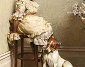 "Little Girl Sitting in Corner With Dog ""In Disgrace"" Punishment for Bad Girls and Dogs RESTORED Antique Print, Affordable Wall Art #170"