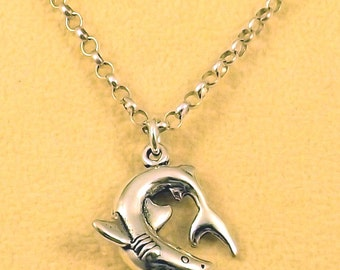 Sterling Silver Biting Shark Pendant on a Sterling Silver 3mm Rolo Necklace - 1434