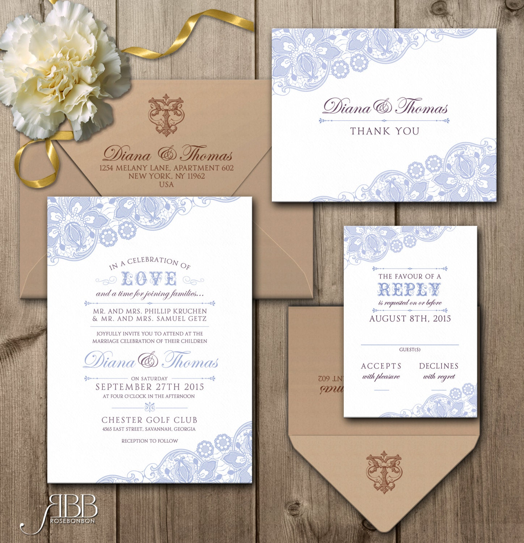 Printable Wedding Invitation Sets: Printable Wedding Invitation Set Dyi Wedding Invitation