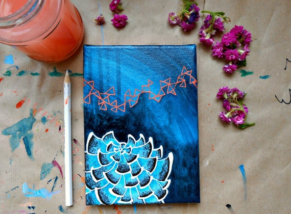Succulent No. 3 - Original acrylic painting blue succulent painting