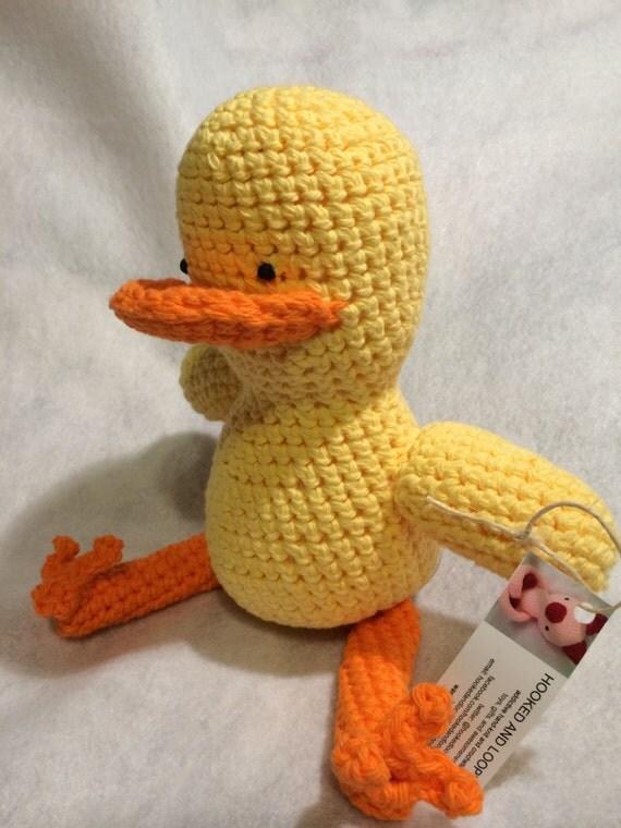 Amigurumi Daffy Duck : Duck Amigurumi Stuffed Animal 11 inches tall by hookedandloopy