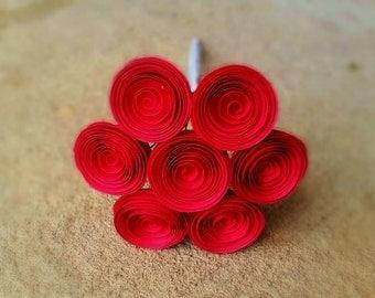 Paper Flower Bouquet - Red Mini Paper Flower Toss Bouquet - Handmade Paper Flowers for Brides, Weddings, Showers, Birthdays