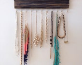 Jewelry Hanger Organizer / Black with hints of Gold / Wall Hanging Hooks / Distressed Crown Molding