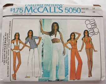 Cover-Up Swimsuit/Bikini /Halter /Pants /McCalls 5050/ Vintage Sewing Pattern/ 1970s /Bust 36