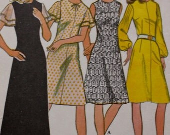 1970s Dress Pattern /Choice of Sleeves /McCalls 3139 /MOD Vintage Sewing Pattern