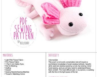 Axolotl Stuffed Animal Sewing Pattern, Plush Toy Pattern, PDF Tutorial