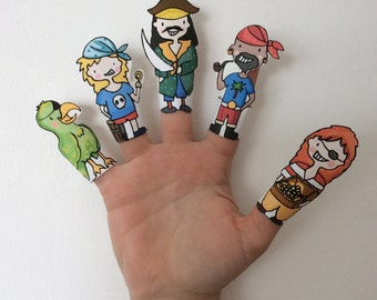 Pirates Paper Finger Puppets By Curmilla, Printable PDF, Pirate, Capitain, Crew, Parrot