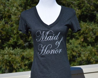 Maid of honor, wedding party, bridal shower, wedding, bridal party, glitter, v neck, bridesmaid, maid of honor shirt, engaged