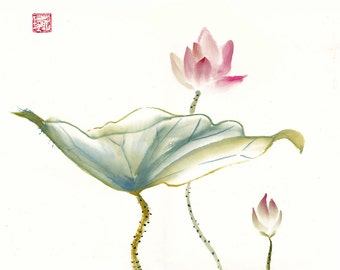 Pink Lotus Chinese Brush Watercolor Original Painting