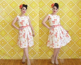 Vintage 1960s Novelty Butterfly and Floral Print Silk Chiffon Day Dress