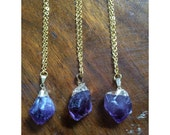 Amethyst Chunk Pendant on Gold Chain - Raw, Crystal, Boho, Chic, Long Necklace