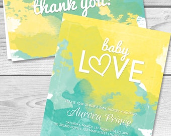 printable teal and yellow baby shower invitation and thank you