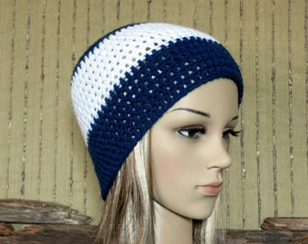 Womens Crochet Hat, Men Beanie, Winter Wool Hat, AFL Geelong Football Beanie, Fall Accessories, Navy White Beanie, Australia