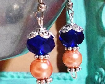 Denver Broncos Sterling Silver Earrings with Beads - Blue and Orange Earrings - Blue and Orange Jewelry