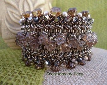 30% off every tutorial! Use coupon code WELCOME in the coupon area at checkout. Moon Flower woven beaded bracelet pattern tutorial