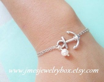 Silver anchor bracelet with freshwater pearl (Adjustable)