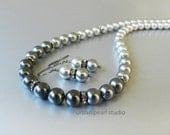 Gray Pearl Necklace Earrings Set, Ombre Pearl Necklace, 4 Shades of Grey Swarovski Pearl Necklace, Bridesmaid Jewelry