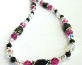 Swarovski Crystal Necklace, Beaded Jewelry, Statement Necklace, Pink Black Swarovski Crystal Jewelry, Bold Jewelry, Gift for Her