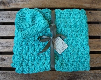 Crochet Baby Blanket with Matching Hat - Robins Egg (teal)