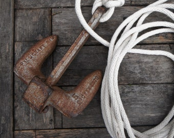Rusty Cast Iron Anchor with White Rope. 5lbs.  Hillcraft Sacremento