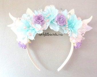 Pastel Mint Crystal Pearl Flower Antler EDM Rave Headpiece
