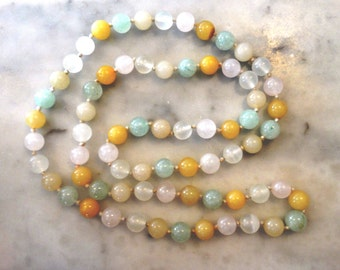 Vintage necklace of semi-precious stone beads - Jade, Crystal, Amber, Quartz , hand-knotted