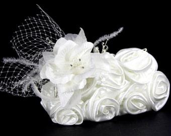 Ivory satin purse, bridal clutch - Satin bridal clutch w/ Exquisite Silk Flower & Crystal Accent, Bridal Purse, Satin Clutch, wedding dress