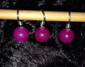 Fuchsia glass bead handmade stitch markers for knitting (Qty 12)